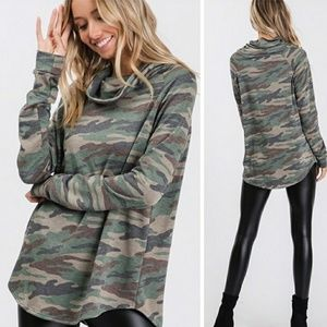 Camouflage Cowl Neck Tunic